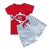 LEXUPE Kleinkind Kinder Baby Jungen Kurzarm Cartoon Gestreiftes T-Shirt Tops 2 STÜCKE Hosen Set(Rot,90)