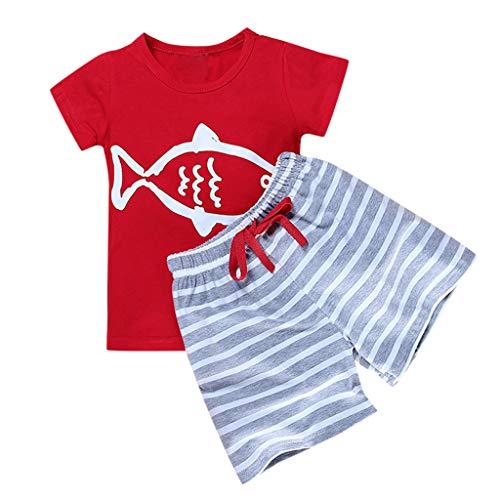 Allegorly Kleinkind Baby Kinder Junge Kurzarm Cartoon Drucken T-Shirt Tops +Gestreiftes Hosen Shorts Elastische Sommerkleidung Outfit Set 0-5 Jahre 4t Fleece