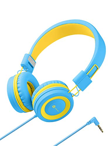 Kinder Kopfhörer - Kabel Kopfhörer für Kinder, verstellbares Stirnband, Stereo Sound, Faltbare, entwirrte Drähte, 3,5 mm Aux Jack, Volume Limited - Kinder Kopfhörer auf Ohr, blau/gelb