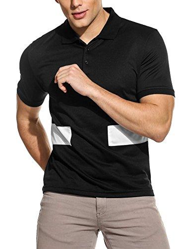 ZEARO Herren drehen unten Kragen Kurzarm Patchwork Casual Sport Polo Shirt Schwarz