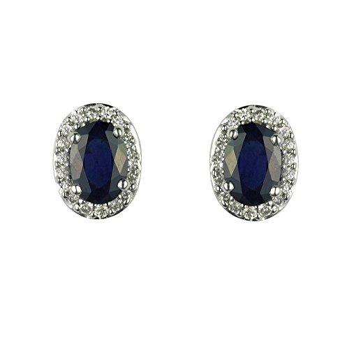 Ivy Gems - Orecchini a perno in oro bianco 9 k con zaffiro e diamanti