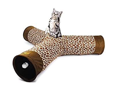 Cat Tunnel Toy - 3 Way Fun Run to Keep Kitty Entertained, Exercising and Playing Games. Like Christmas and Catnip for Kittens. Best Play House Condo to Help Stop Meowing and Scratching