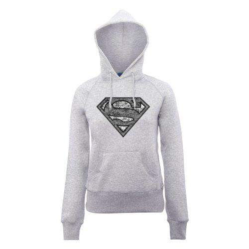 DC Universe Damen Kapuzenpullover Dc Comics Official Superman Distressed Logo Womens Hooded Sweatshirt Grau - Erika-Grau