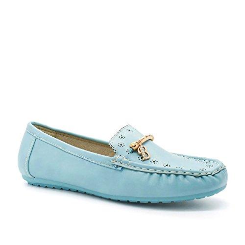 London Footwear ,  Damen Durchgängies Plateau Sandalen mit Keilabsatz Blau