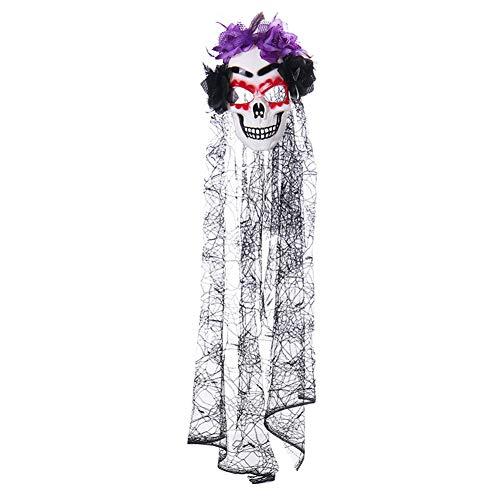 1PC-Spitze-Blumen-Schädel-Schleier Maske, Halloween-Party-Maske Horror Schädel-Maske Tag Des Todes Schädel Veil Kopfstück Scary Halloween-Party-Prop Cosplay-Kostüm-Zusatz (Rote-Augen-Schatten) - Maske Des Roten Todes Kostüm