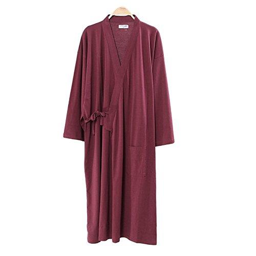 Männer Japanische Stil Robes Pure Baumwolle Kimono Pyjamas Dressing Kleid Bademäntel-Wein Rot (Kleid Strukturierte Baumwolle)