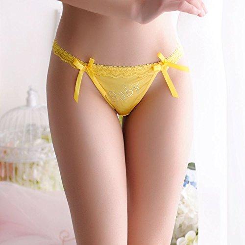 QPLA@T-back Unterhosen Schlüpfer Niedrige taille Slip Damen Unterwäsche Tangas yellow onesize