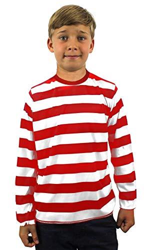 KINDER ROT/WEISS GESTREIFTES LANGE ÄRMEL T SHIRT KOSTÜM-VERKLEIDUNG -LARGE (Where's Waldo Kostüm Kind)