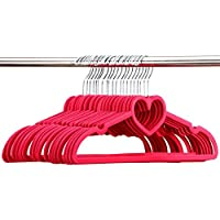 Velvet Suit Hangers, 10PCS Love Heart Flocking Hanger Anti-Slip Velvet Clothes Hanger Girl Magic Hanger Prevents Slipping Creasing