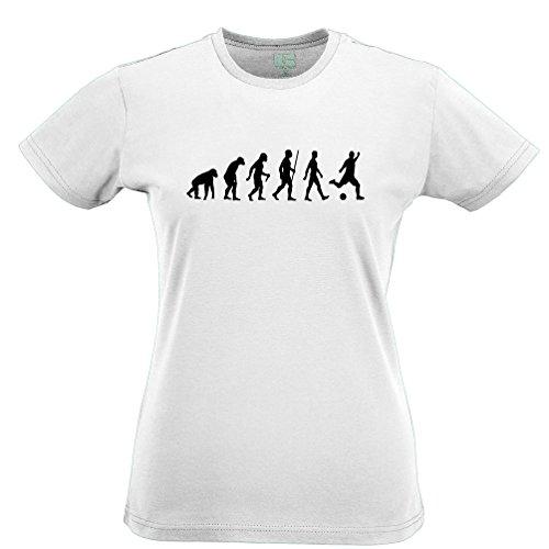 Evolution of Soccer Sport Game Match Novelty Birthday Ball Football Kick Evolution Parody Darwin Womens Ladies T-Shirt Cool Funny Gift Present