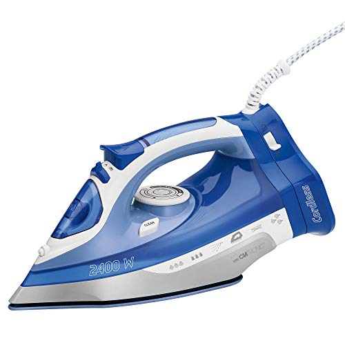Clatronic DB 3706 Plancha Vapor Sin Cable Inalámbrica con Suela CER, 2400 W, Blanco/Azul