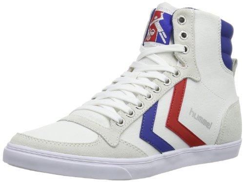 hummel HUMMEL SLIMMER STADIL HIGH, Unisex-Erwachsene Hohe Sneakers, Weiß (White/Blue/Red/Gum), 40 EU (6.5 Erwachsene UK) (High-top Retro)