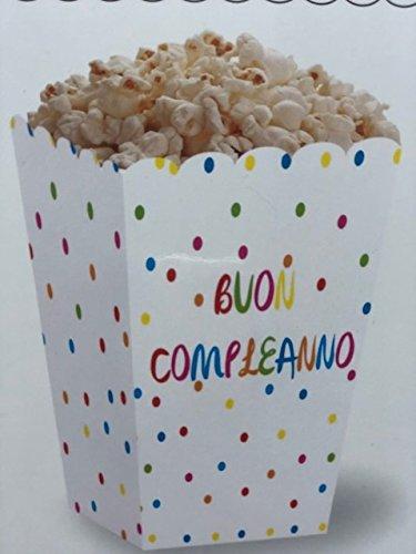 Dal- 6unidades cajas cajas a lunares colores Buon Compleanno Palomitas Snack Dulces ideales para fiestas de cumpleaños bautismo Baby Shower Party