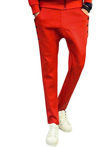 Hommes Taille Élastique Entrejambe Tombant Rayures Boutons Décor Côtés Pantalon Survêtement Rouge
