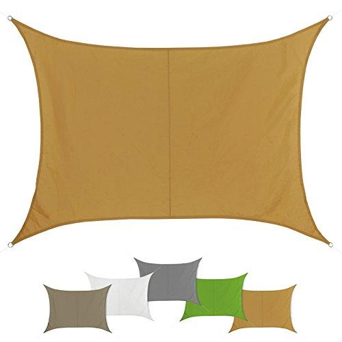 Sonnensegel SUN FRANCIS rechteckig in verschiedenen Größen und Farben wetterbeständig wasserabweisend Garten Terrasse Camping Caravaning Sonnenschutz 100 % PES Sichtschutz Windschutz Tarp , Größe (Fläche):4m x 5m, Farbe:Terracotta (4x5)