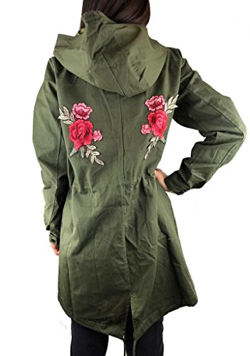 Worldclassca DAMEN PARKA JACKE BLUME FLOWER PRINT STICKEREI MILITÄR GRÜN ÜBERGANGSJACKE TRENCHCOAT PATCHES MANTEL RETRO BLOUSON ARMY TARN PARKA BLOGGER FASHION LANG S-XL NEU (XL, Khaki Blume 22)