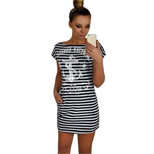 Transer ® Slim Casual New été femme à manches courtes col rond Anchors Robe rayée(S-XL) Noir/Blanc