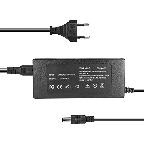 Ladegerät, Netzteil 100-240V für Toshiba Satellite 500, 1400, 2400, A10, M20, Portege 3500, 4000, M100, Tecra M1, TE2000 - 15V 5A 75W - 6.3mm x 3mm (Tecra Serie Laptop M6)