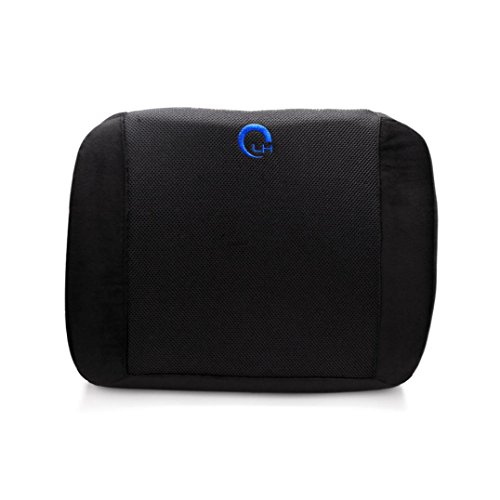 Car Back Cushion Pillow - Kingwo Memory Foam Waist Pillow Thickening 3d Ventilative Mesh Lumbar Support Cushion Back Cushion ,Alleviates Lower Back Pain Waist Pillow Super soft wool fabrics + breathable mesh (Black)