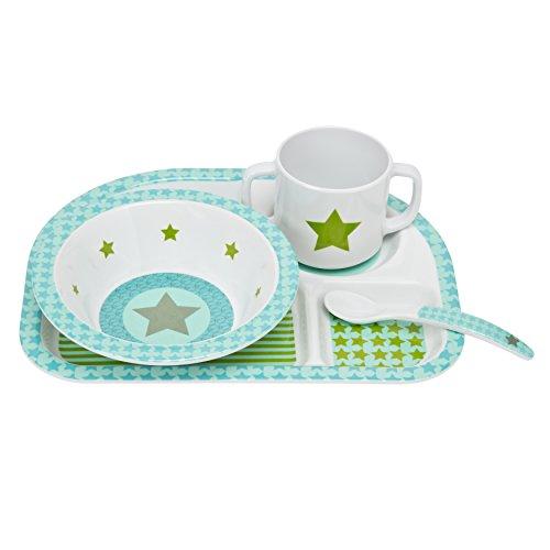 LÄSSIG Kindergeschirr Set Schüssel Tasse Löffel Menüteller rutschfest spülmaschinengeeignet Melamin/Dish Set Starlight Olive