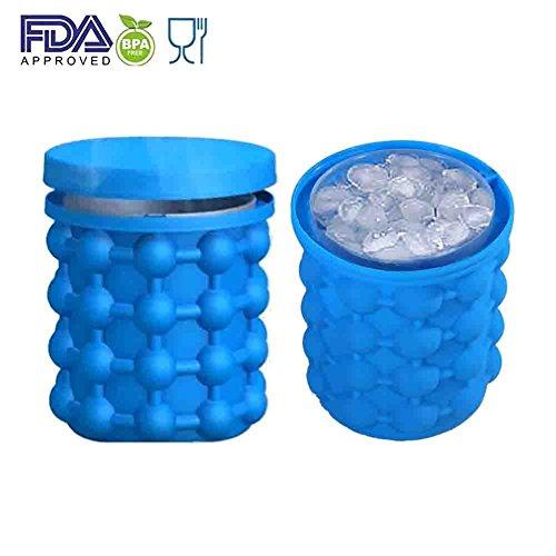 Xinliands Silikon Eiswürfelbereiter Genie Revolutionäre platzsparende BPA Free Soft 2-in-1 Funktion Eiswürfelformen Eiseimer mit Deckel Outdoor Travel Ice Genie