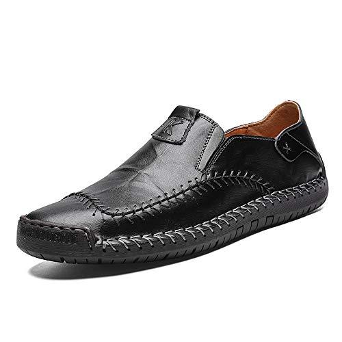 HILOTU Penny Slipper für Herren Lässiger bequemer Slip-On-Slipper Atmungsaktiver Outdoor-Slipper aus echtem Leder (Color : Schwarz, Größe : 42 EU) -