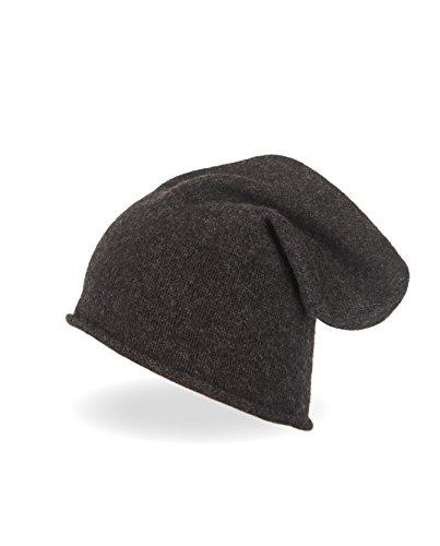 CASH-MERE.CH Bonnet Tricoté | Beanie 100% Cachemire (Gris/Gris Foncé, Unisex, One Size)