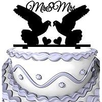2 palomas con corazones dobles para decoración de tartas de bodas