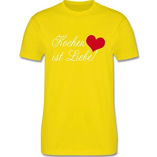 Küche - Kochen ist Liebe - Herren Premium T-Shirt Lemon Gelb