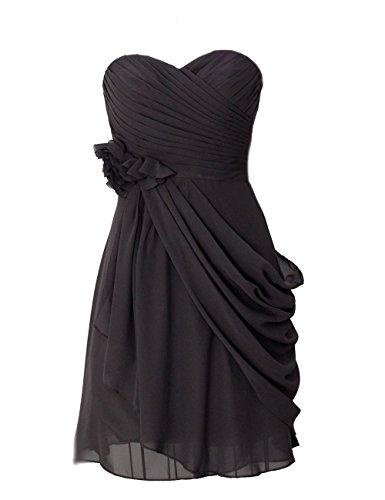 Dresstells, robe courte de demoiselle d'honneur mousseline avec fleurs Bordeaux