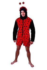 Marco Porta 4471M - Mariquita mono de peluche con las piernas cortas, M, negro/rojo