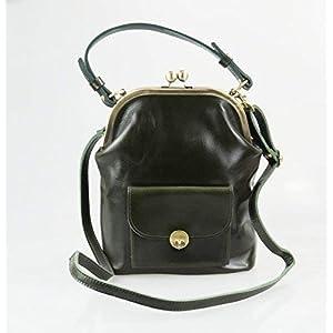 """Leder Handtasche""""Gwen"""" in dunkelgrün"""