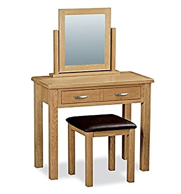 Roseland Furniture London Oak Light Lacquered Dressing Table Set, Beige