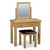 Roseland Furniture London Oak Dressing Table Set, Light Lacquered