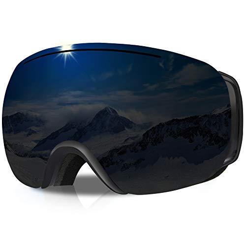 GANZTON Skibrille Ski Snowboard Brille OTG Brillenträger Schneebrille Doppel-Objektiv UV-Schutz Anti-Fog Snow Snowboardbrille mit Verstellbares Band für Damen Herren Jungen Mädchen(Pures Schwarz)