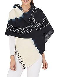 Crème Noir Châle Wrap Cadeaux Femmes indienne main laine Tie-dye For Her 36x80 pouces