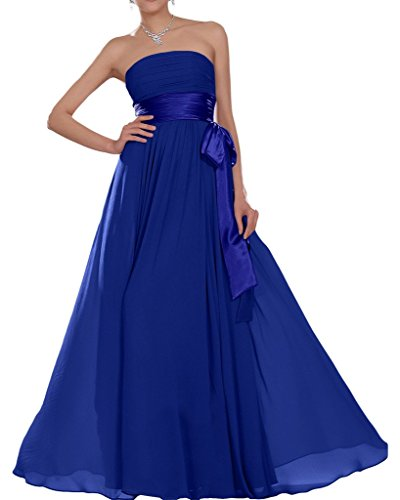 Missdressy Damen Elegant Chiffon Lang Satin Traegerlos Band Faltenwurf Hochzeitsgast Kleider Partykleider Abendkleider Abiball Abschlussball Royalblau