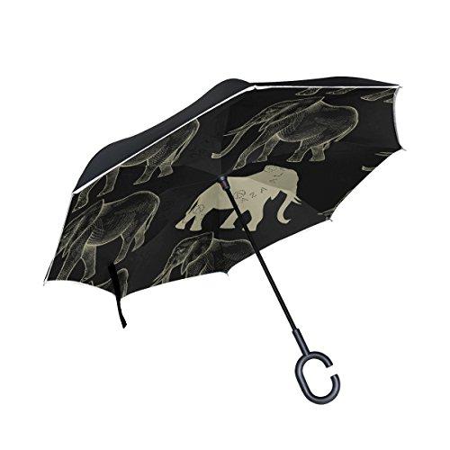 Mnsruu Paraguas invertido de Doble Capa sin Costuras con Elefantes Plegable con...