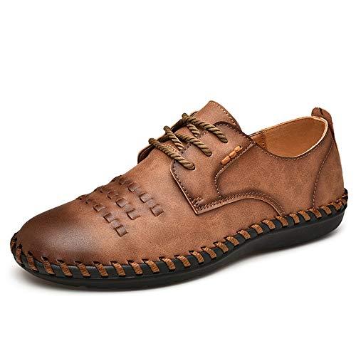 Casual Suede Shoe Herren Oxford Schuhe Formelle Schuhe Schnüren OX Leder Retro Farbe Polieren Zehen Stricken Design Atmungsaktiv Flexible Falten Herren Sneaker (Color : Braun, Größe : 46 EU) -