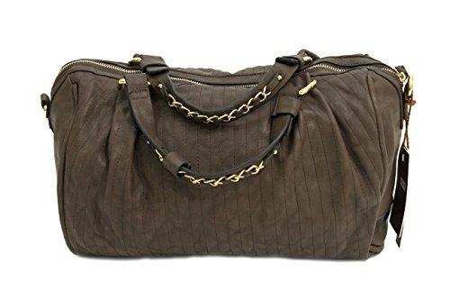 Delle signore delle borse di cuoio di lusso Effetto Cinturino in pelle con catena in metallo Borse Marrone