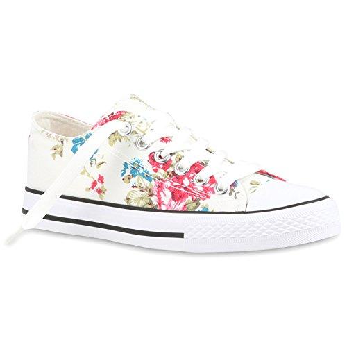 Stiefelparadies Damen Sneakers Blumen Freizeit Denim Sneaker Low Stoff Turn Schuhe 118933 Weiss Muster 37 Flandell