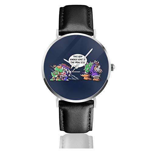 Unisex Business Casual Super Ninja Bros TMNT Su-per Ma-Rio Uhren Quarzuhr Lederarmband schwarz für Herren Damen Young Collection Geschenk