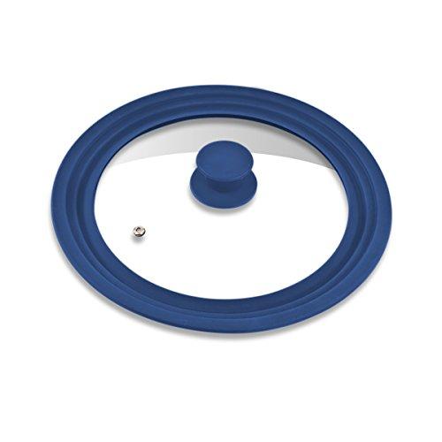 bremermann® Universal-Glasdeckel mit Silikonrand, 24/26/28 cm, mittel (Blau)