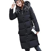 d7734fad7de Tomwell Hiver Manteau avec Capuche Fourrure Doudoune Femme Zippé Longue  Duvet de Coton Grande Taille Doudoune