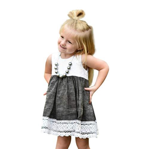 i-uend 2019 Mädchen Frühling Sommerkleid - Kleinkind Baby ärmellose Rüschen Spitzenkleid Sommerkleid für 0-3 Jahre