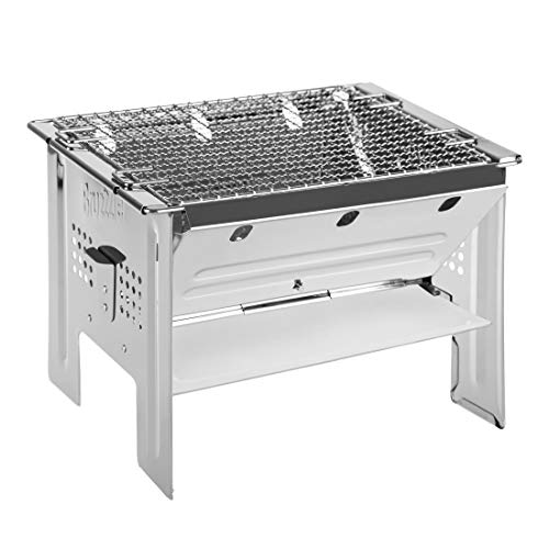 416c3weyCyL. SS500  - Bruzzzler To-Go Portable Charcoal Barbecue Ideal for Outdoor Stays with Carry Bag for Use with Charcoal or Camping Gas Stove
