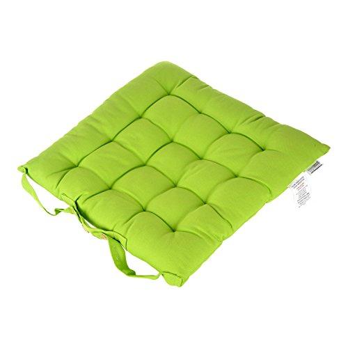 Homescapes dekoratives Stuhlkissen mit Bändern und Knopfverschluss, 40 x 40 cm in grün, Bezug aus 100% reiner Baumwolle mit Polyester Füllung, pflegeleicht, waschbar bis 40° C
