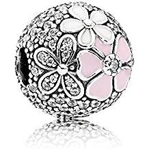 Stonebeads Clip Florecer Poético en plata de ley, esmalte rosa y blanco y circonitas cúbicas transparentes