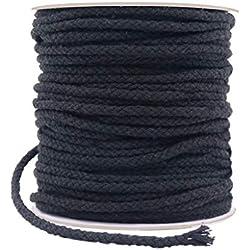 Cordón de macramé de algodón de 5 mm y 165 pies, color negro