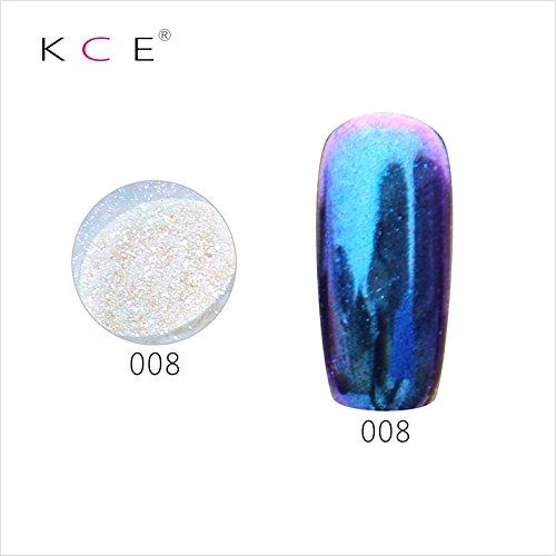 topbeauty Nail Art Paillettes Brillant miroir chrome Pigment poudre Nail Art Outils avec éponge Stick 8